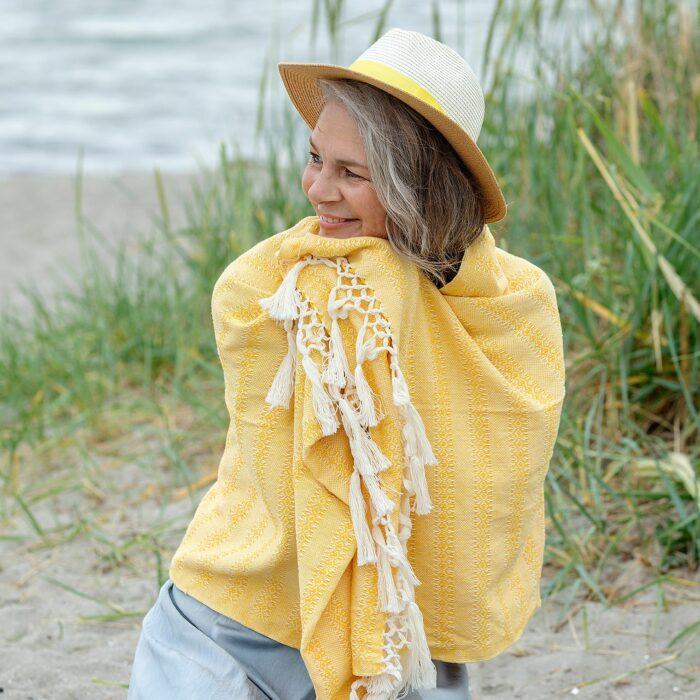 Rebozo Torklæde Emma Yellow Vikle og Rebozo massage pic.2