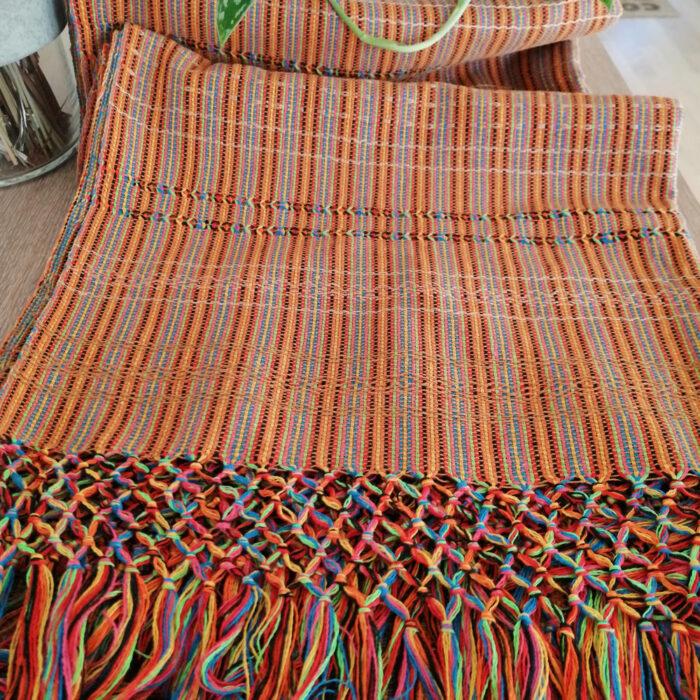 Rebozo Scarf Amaya Orange Stripes Wrap and Rebozo massage pic.1