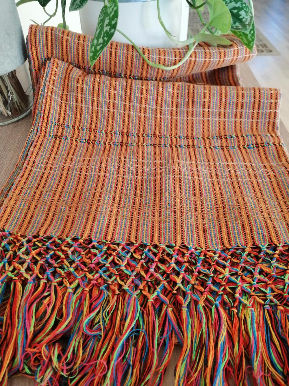 Rebozo Torklæde Amaya Orange Stripes Vikle og Rebozo massage pic.1