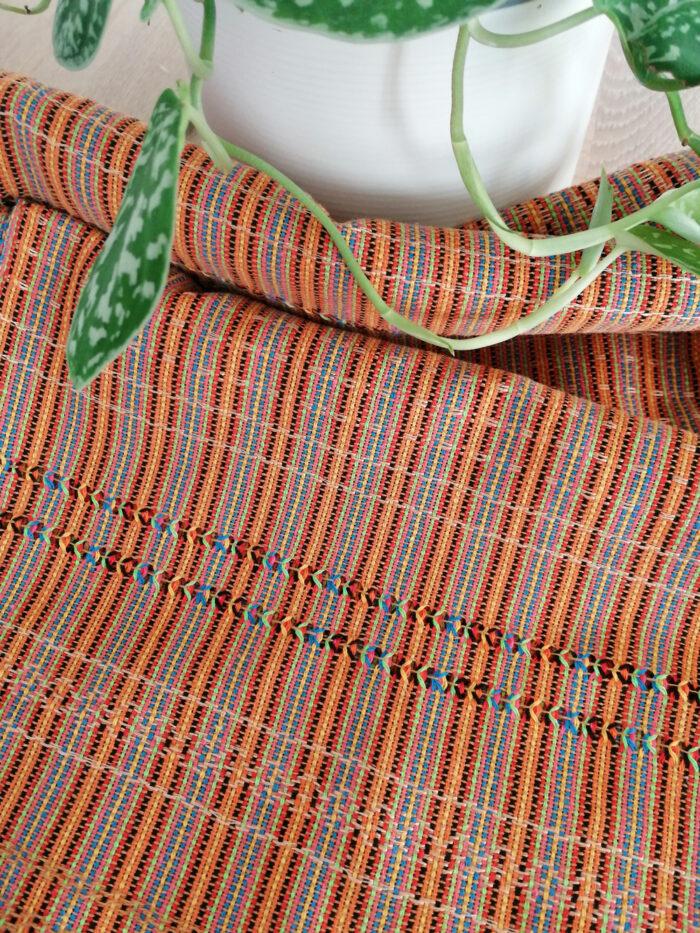 Rebozo Torklæde Amaya Orange Stripes Vikle og Rebozo massage pic.2