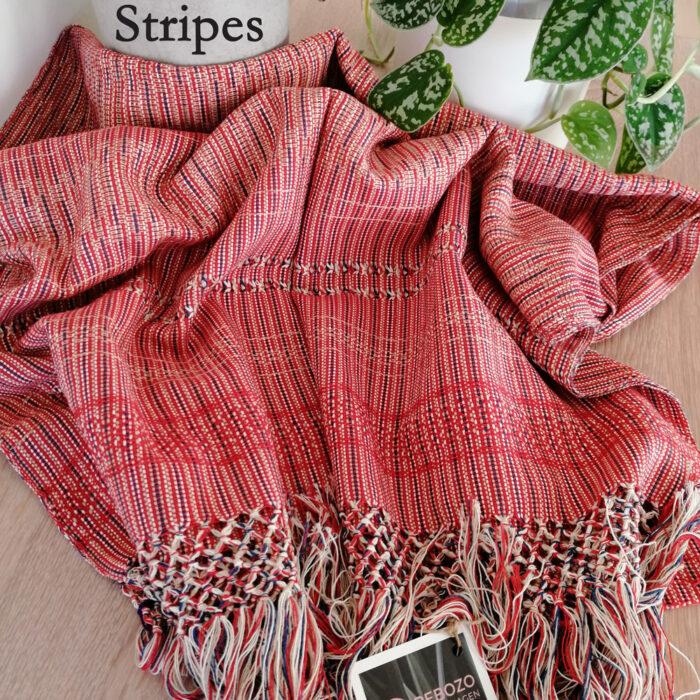 Rebozo Torklæde Amaya Red Stripes Vikle og Rebozo massage pic.2