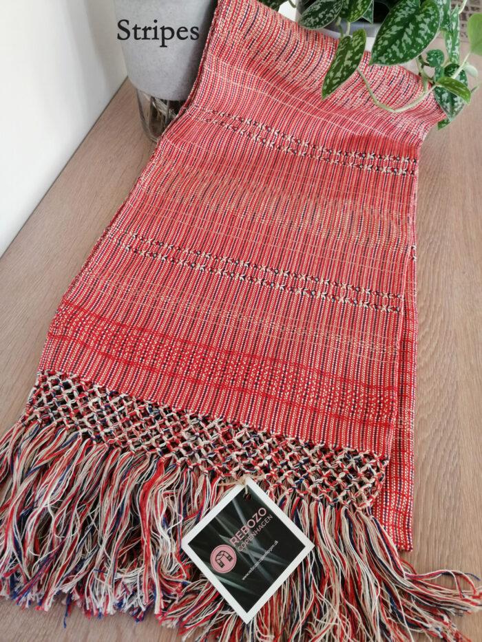 Rebozo Torklæde Amaya Red Stripes Vikle og Rebozo massage pic.3