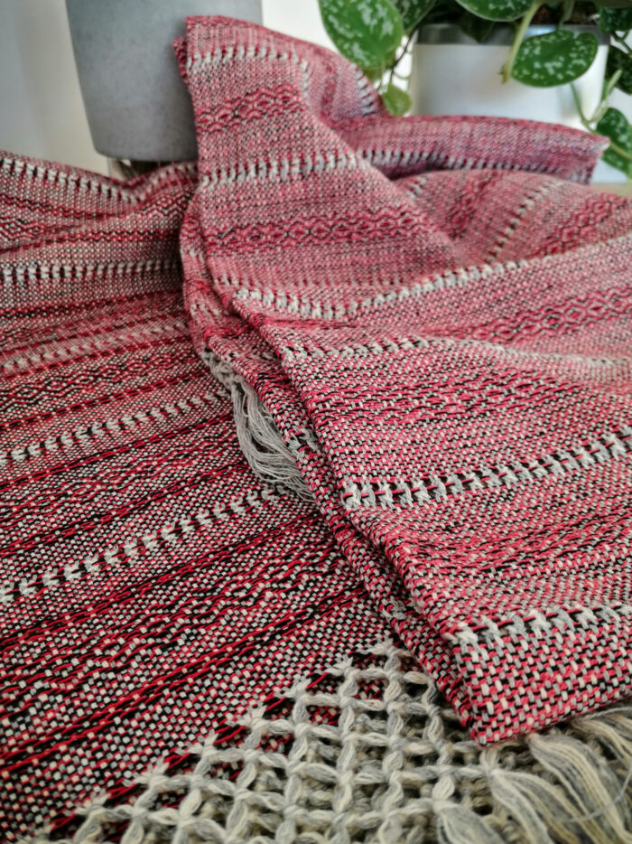 Rebozo Torklæde Amaya Red Stripes Vikle og Rebozo massage pic.4